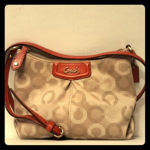 Like New COACH Ashley Dotted OP Art Crossbody  Red